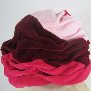 Vtg 60's Pleated Cloche Hat Color Block Velvet